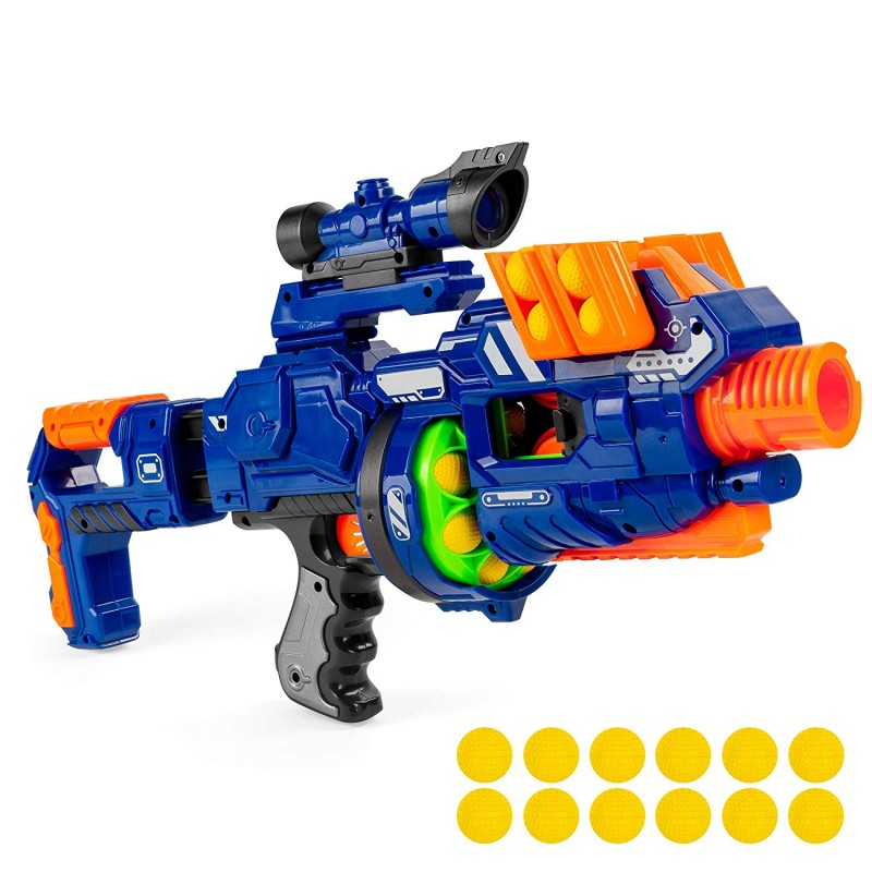 Súng customizable Soft Foam Ball Long-Distance Blaster Toy w/ Barrel Extension, 12 Balls, Bipod