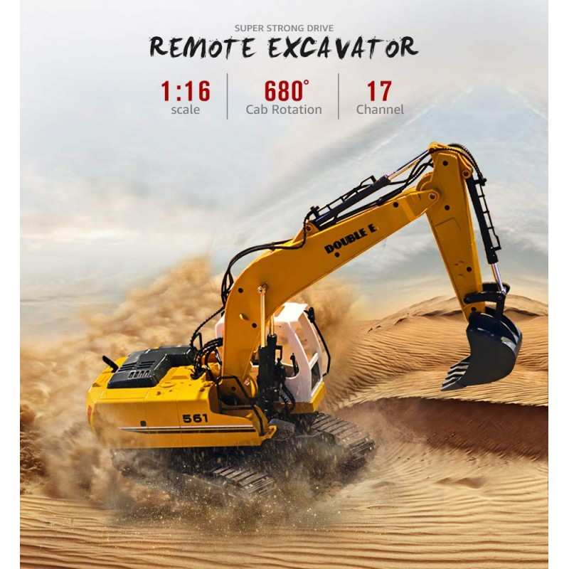 Xe xúc DOUBLE E 17 Channel Full Functional Remote Control Truck Metal Shovel RC Excavator with 2 Bonus Drill and Grasp