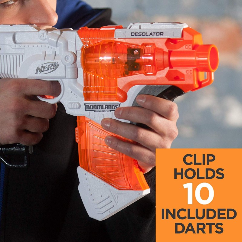 SúngNerf Desolator Doomlands Toy Blaster with 10-Dart Clip and 10 Official Doomlands Elite Darts for Kids, Teens, and Adults