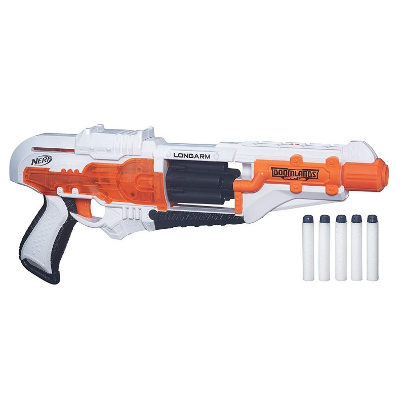 Súng Longarm Nerf Doomlands Toy Blaster with Flip-Open Drum