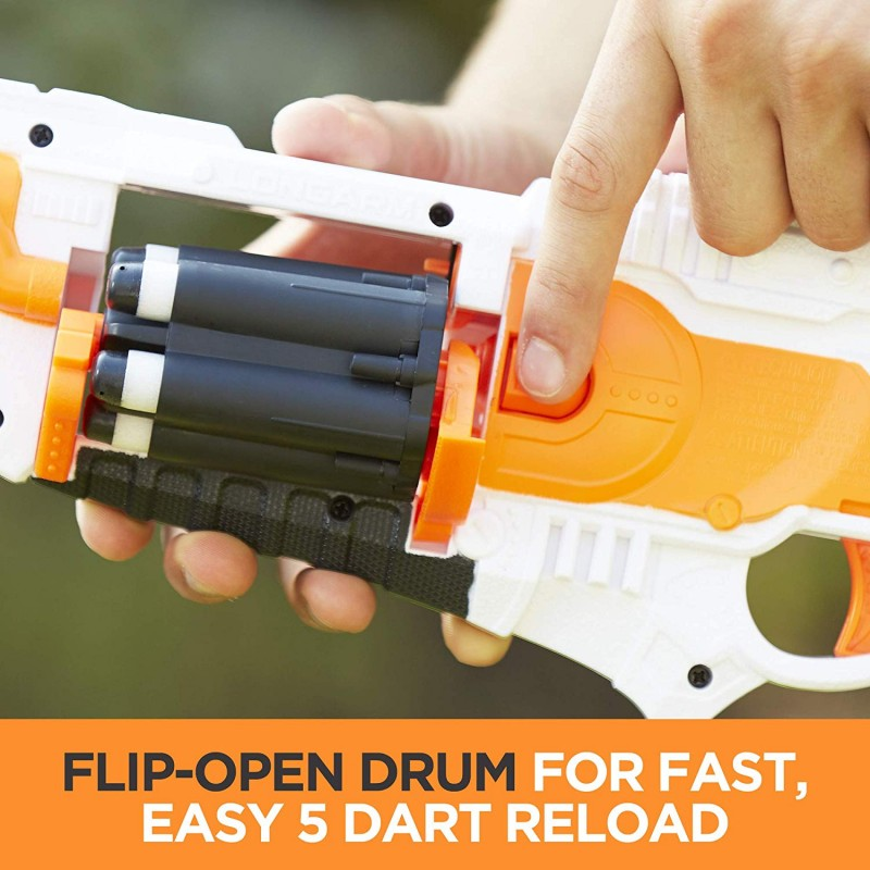 Súng Longarm Nerf Doomlands Toy Blaster with Flip-Open Drum and 5 Official Nerf Doomlands Elite Darts for Kids, Teens, and Adults